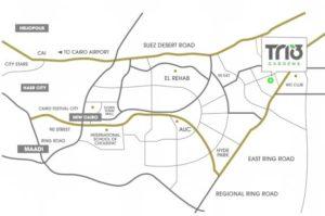 موقع مشروع تريو جاردنز القاهرة الجديدة